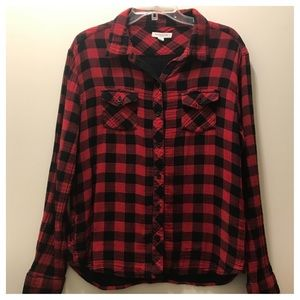 Buffalo check flannel button down shirt. Size Lg